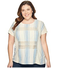 Lucky Brand Plus Size Metallic Embroidered Top Natural Multi Women's Short Sleeve Pullover