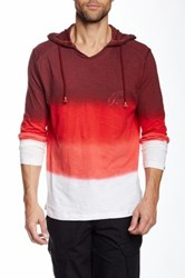 Point Zero Long Sleeve V Neck Hoodie Red