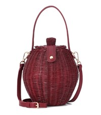 Ulla Johnson Tatou Wicker Basket Bag Red