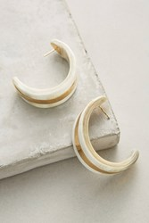 Anthropologie Horn Hoop Earrings White