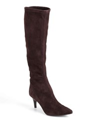 Delman Lilia Tall Suede Boots Brown