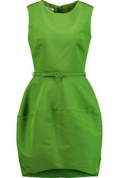 Oscar De La Renta Belted Silk Faille Mini Dress Bright Green