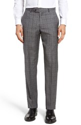 Nordstrom Men's Flat Front Plaid Wool Trousers Mid Grey