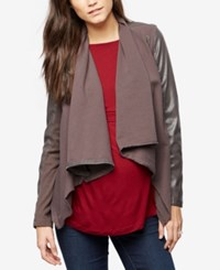 A Pea In The Pod Maternity Draped Mixed Media Jacket Dark Gray