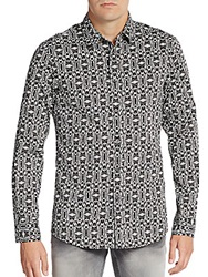 Just Cavalli Regular Fit Owl Print Stretch Cotton Sportshirt Black Multi