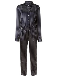 Anthony Vaccarello Striped Jumpsuit Blue