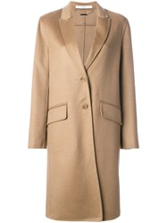 Givenchy Single Breasted Coat Women Viscose Cashmere 38 Brown