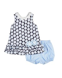 Florence Eiseman Sleeveless Pique Daisy Dress W Bloomers Navy White