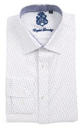 English Laundry Men's Big And Tall Trim Fit Geometric Dress Shirt White Navy