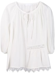 P.A.R.O.S.H. Lace Embroidered Blouse White