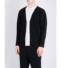 Homme Plisse Issey Miyake Pleated Woven Cardigan Black