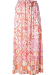 Emilio Pucci Vintage Long Floral Print Skirt Pink And Purple