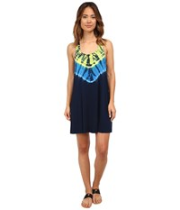 Lucky Brand Half Moon Dress Cover Up Indigo Women's Swimwear Blue