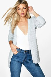 Boohoo Ripple Stitch Edge To Edge Boyfriend Cardigan Silver