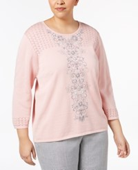 Alfred Dunner Plus Size Lakeshore Drive Collection Embellished Pointelle Knit Sweater Tea Rose