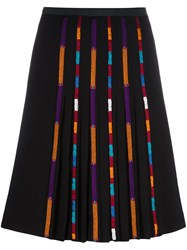 Etro Stripe Detail Pleated Skirt Black