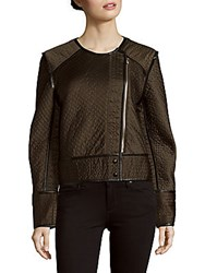 Sandro Quilted Roundneck Long Sleeve Jacket Olive Green