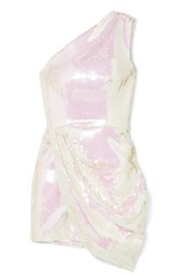 Alex Perry Kea One Shoulder Sequined Satin Mini Dress Ivory