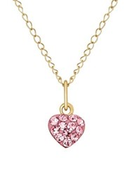 Lord And Taylor Rose Crystal 14K Yellow Heart Necklace Pink