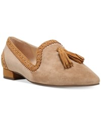Franco Sarto Stella Pointed Toe Smoking Flats Women's Shoes Camel Suede