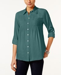 Styleandco. Style Co. Petite Roll Tab Shirt Only At Macy's Green Nectar