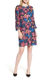 Halogen Ruched Sleeve Swing Dress Navy Multi Floral