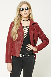 Forever 21 Faux Leather Moto Jacket Wine