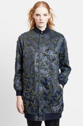 Julien David Velvet Palm Tree Laminated Bomber Coat Blue