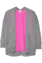 Mason By Michelle Mason Cashmere And Neon Silk Cardigan Gray