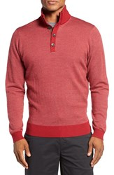 Bobby Jones Men's Birdseye Quarter Button Wool Sweater Rio Red