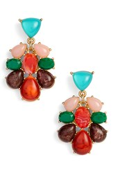 Kate Spade New York Colorful Stone Drop Earrings Multi Red Gold