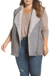 Love Token Plus Size Faux Shearling Vest Grey