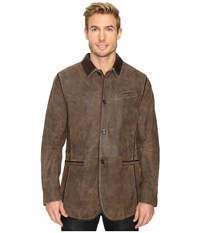 Scully Manor Mansion Goatskin Leather Elbow Patch Blazer Brown Men's Jacket