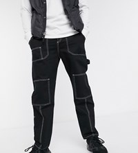 Reclaimed Vintage Cargo Trouser In Twill With Contrast Stitch Black