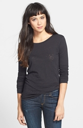 Rag And Bone Long Sleeve Burnout Tee Black