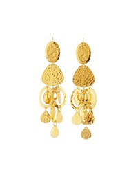 Jose And Maria Barrera Golden Hammered Chandelier Earrings Women's