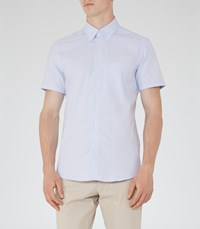 Reiss Dunning Mens Slim Short Sleeve Shirt In Blue
