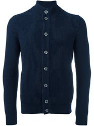Barba Ribbed High Neck Cardigan Blue