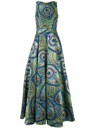Manish Arora Peacock Print Full Gown Green