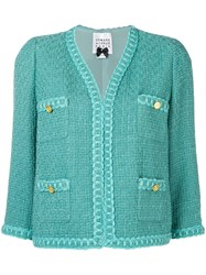 Edward Achour Paris Cropped Tweed Jacket Blue