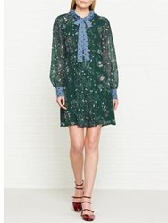 See By Chloe Long Sleeved Pussy Bow Print Dress Green