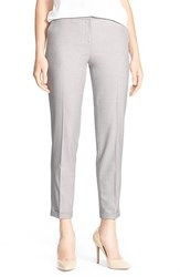 Petite Women's Halogen 'Taylor Allison' Cuffed Suit Pants Light Grey Pattern