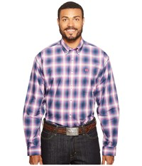 Cinch Long Sleeve Plain Weave Plaid Blue Men's Clothing