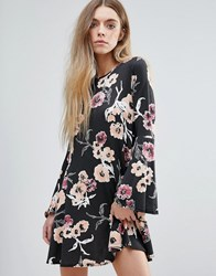 Daisy Street Floral Dress With Bell Sleeves Black Floral