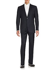 Saks Fifth Avenue By Samuelsohn Striped Wool Jacket And Pant Set Navy
