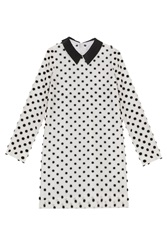 Victoria Beckham Flock Dot Collared Shift Dress
