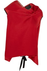Roland Mouret Eugene Draped Satin Top Red