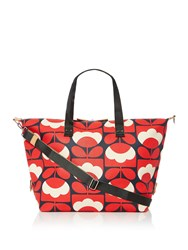 Orla Kiely Spring Bloom Large Zip Holdall Red