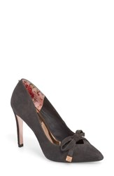 Ted Baker London Gewell Bow Pump Charcoal Suede