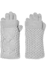 Duffy Cable Knit Merino Wool Gloves Gray